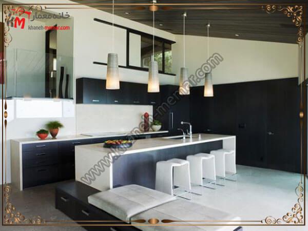 لوستر سه عددی بالای میز ناهار خوری لوستر آشپزخانه را در کجای آشپزخانه نصب کنیم؟