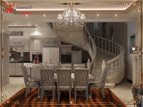 یک مدل از طراحی ناهار خوری و لوستر لوستر آشپزخانه