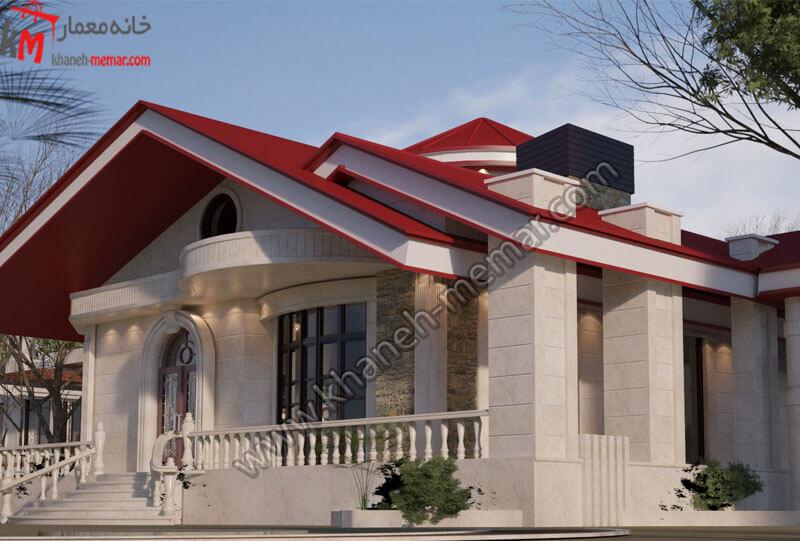 طراحی نمای کلاسیک برای خانه باغ با سقف قرمز رنگ و بسیار زیبا .