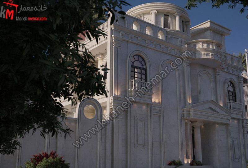 طراحی نمای نئوکلاسیک سنگی در سه طبقه مجزا و دارای و طرف نما و دارای موقعیت دسترسی جنوبی می باشد.