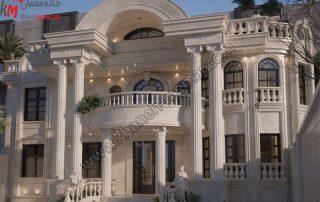 طراحی نمای فوق العاده شیک و زیبا به سبک نئوکلاسیک طراحی شده با سنگ و دارای دو طبقه مجزا و دارای یک تراس بسیار بزرگ دارای ویو مناسب و دارای موقعیت دسترسی جنوبی و پارکینگ مسقف می باشد .