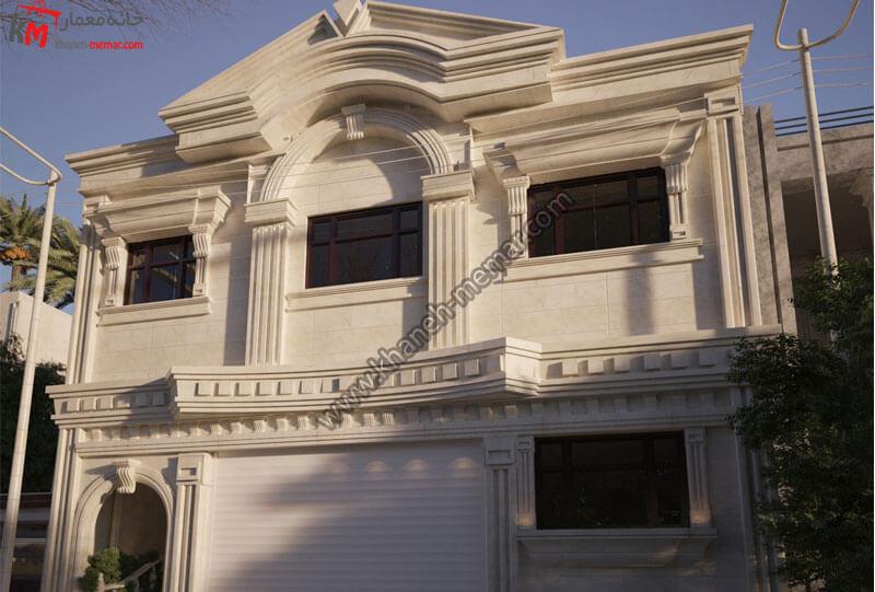 طراحی نمای کلاسیک با سنگ رومی و تراورتن دارای موقعیت دسترسی شمالی و دارای پارکینگ سرپوشیده میباشد