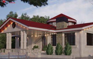 فوق العاده ترین طراحی نمای ترکیبی کلاسیک مدرن با سقف قرمز رنگ با نورپردازی با نورپنهان که فضایی فوق العاده زیبا و متفاوت را ایجاد کرده است