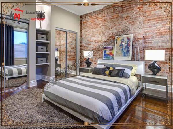 دکوراسیون شیک اتاق خواب با دیوار اجری