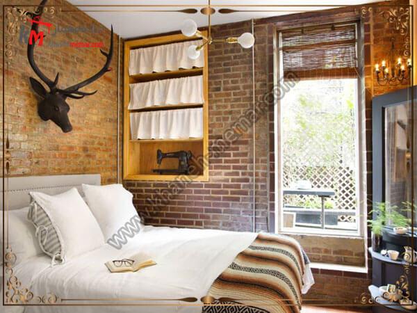 طراحی زیبای اتاق خواب با دیوار اجری