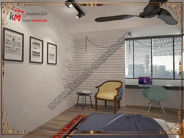 دیوار اجری به رنگ سفید برای اتاق خواب