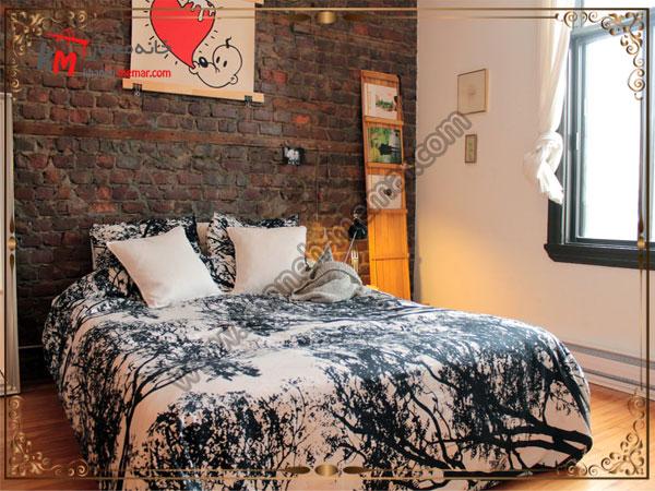تزیین دیوار اجری برای اتاق خواب