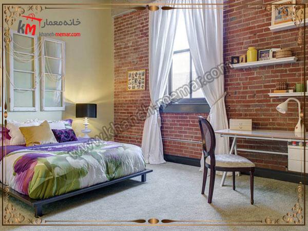 اتاق خواب شیک همراه با تزیین دیوار اجری