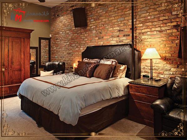 نمای اجری دیوار اتاق خواب در شب