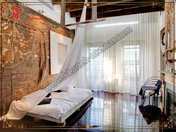 انواع دیوار اجری برای اتاق خواب