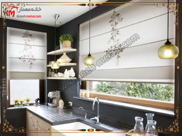 طرح و رنگ پرده مدلی از پرده برای آشپزخانه