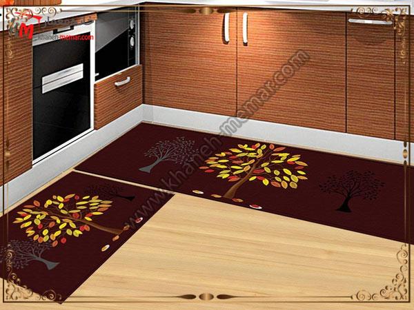 استفاده رنگهای تیره برای فرش آشپزخانه