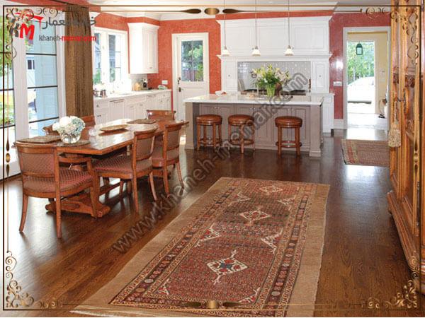 فرش قهوه ای آشپزخانه امکان شستشو و تمیز کردن فرش