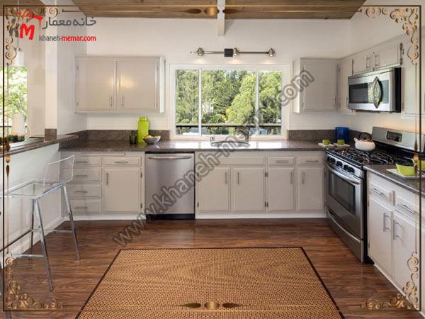 فاصله بین فرش و کابینت ها توجه به رنگ آمیزی و دکوراسیون آشپزخانه در زمان خرید فرش