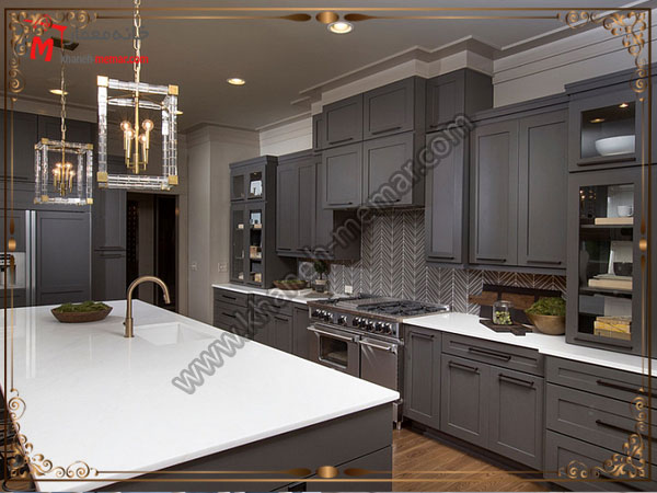 کاشی آشپزخانه استفاده از رنگهای تیره برای کاشی