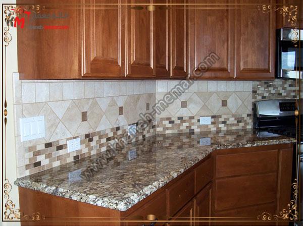 یک مدل تایل آشپزخانه با طرح وسط شلوغ کاشی طرح برجسته