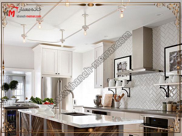 کاشی آشپزخانه از نوع مورب چیده شده کاشی آشپزخانه برای دکوراسیون مدرن