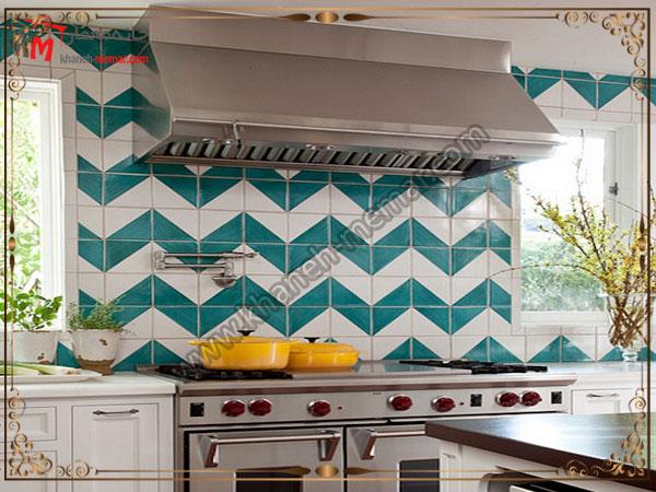 طرح مورب برای کاشی کاشی آشپزخانه برای دکوراسیون مدرن
