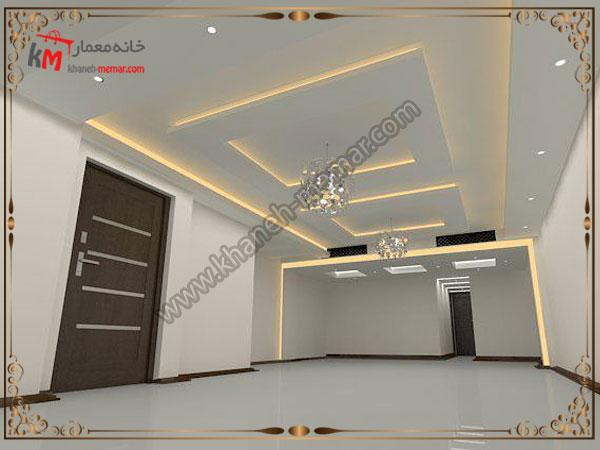 طراحی زیبای تزئینات سقف پذیرایی و هالوژن زرد