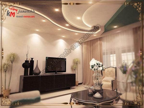 تزیینات و نورپردازی سقف پذیرایی