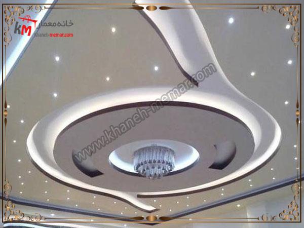 کناف زیبای منحنی طراحی شده به همراه نورپردازی