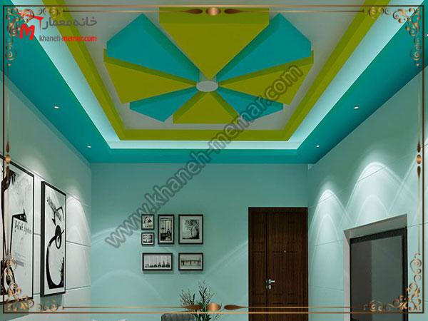 رنگهای زیبای دکوراسیون سقف همراه با نور پردازی