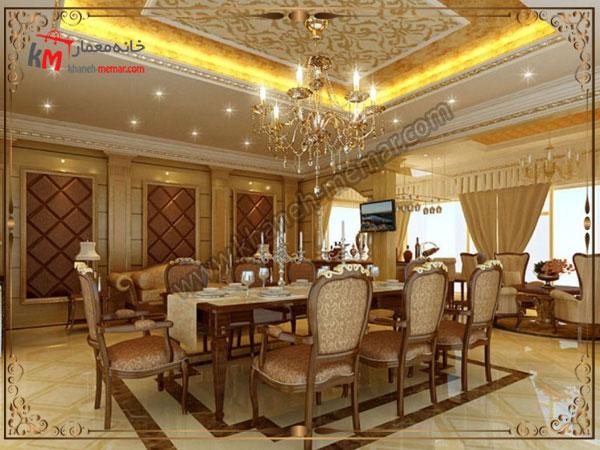کناف و نورپردازی طراحی شده سالن پذیرایی