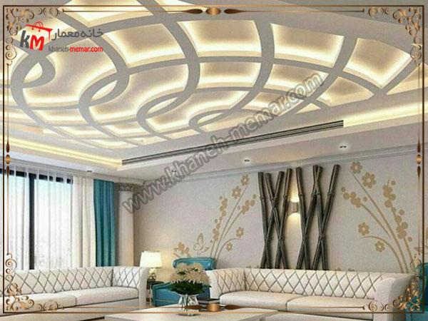 تزئین کناف سقف با اشکال منحنی زیبای تو در تو
