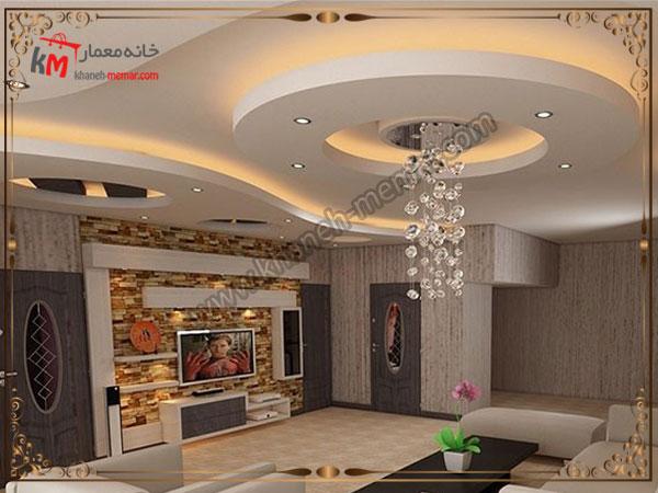 دکوراسیون طراحی شده سالن پذیرایی و سقف