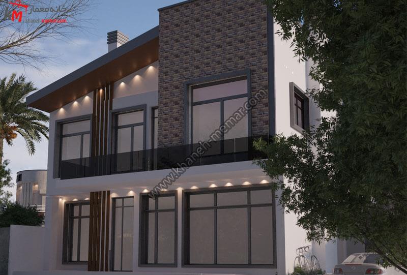 طراحی نمای فوق العاده زیبای به سبک مدرن با ترکیب رنگ قهوه ای تیره و سنگ سفید عباس آباد و موقعیت دسترسی شمالی است