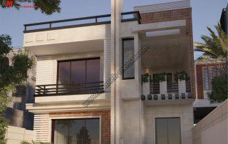 طراحی نمای مدرن فوق العاده زیبا و دارای دو طبقه مجزا که طبقه همکف دارای حیاط بوده و طبقه دوم یک تراس بزرگ دارد و دارای موقعیت دسترسی شمالی میباشد