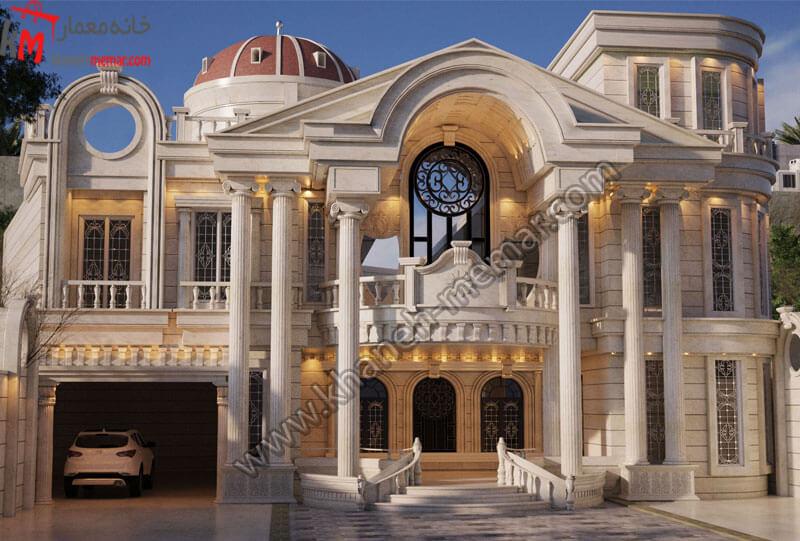 طراحی نما به سبک کلاسیک در دو طبقه به صورت تمام دوبلکس دارای موقعیت دسترسی جنوبی و طراحی شده با سنگ نما.