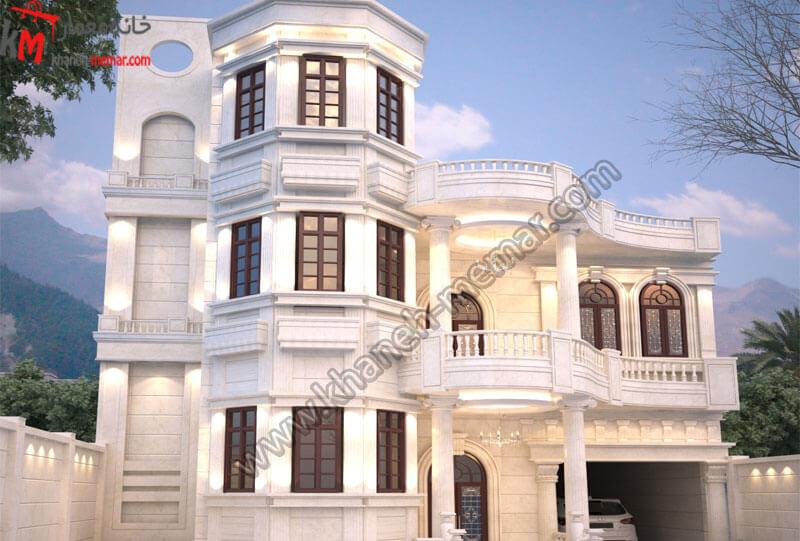 طراحی نمای به سبک کلاسیک و دارای پنج طبقه که یک طبقه آن به صورت تمام دوبلکس می باشد و دارای پارکینگ سرپوشیده میباشد .