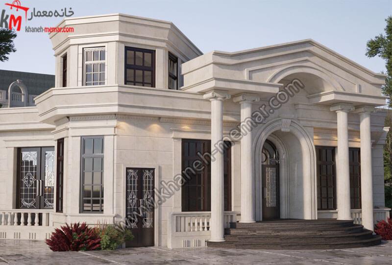 نما به سبک کلاسیک و دارای موقعیت دسترسی جنوبی و کار شده با سنگ و دارای یک بهار خواب بزرگ .