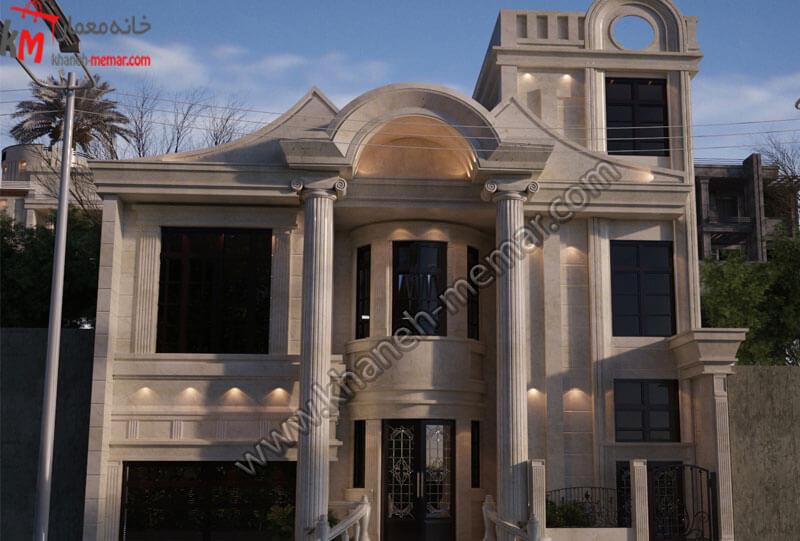 طراحی نمای نئوکلاسیک در دو طبقه مجزا و دارای نمای سنگی و رومی و دارای موقعیت دسترسی جنوبی .