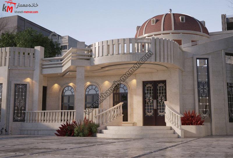 طراحی نمای نئوکلاسیک با سنگ تراورتن دارای موقعیت دسترسی جنوبی و نورپردازی مناسب و زیبا نمای بسیار زیبایی است