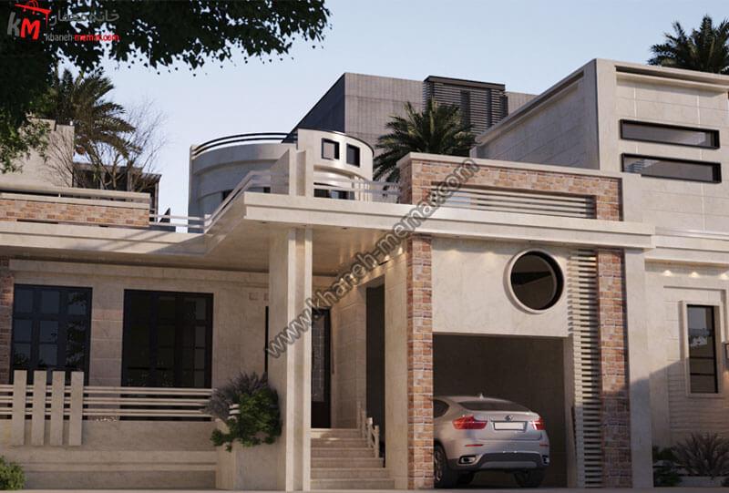 طراحی نمای رومی با سنگ تراورتن به سبک نئوکلاسیک و با طراحی نمای سه بغدی و پارکینگ سرپوشیده است