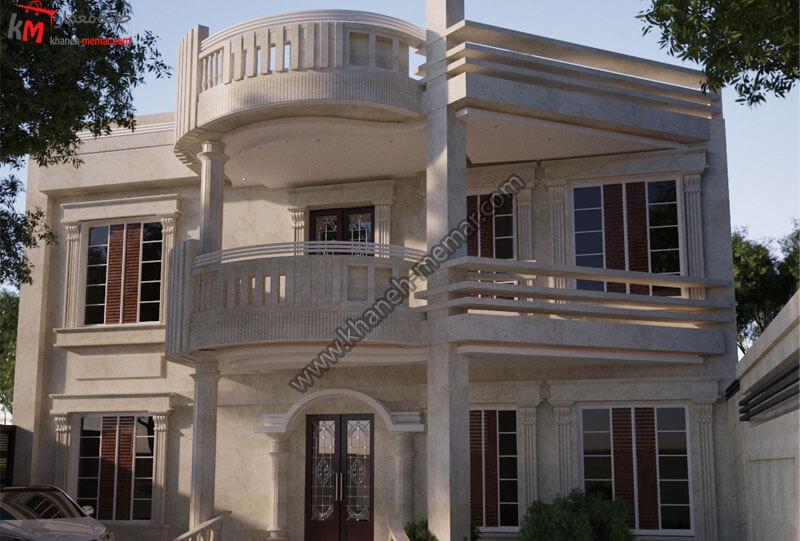 طراحی نمای بسیار امروزی و عام پسند و زیبا به سبک نئوکلاسیک و با سنگ تراورتن و دارای دو طبقه و طبقه دوم دارای که تراس بزرگ است
