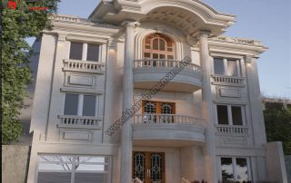 نمایی زیبا به سبک نئوکلاسیک با نمای سنگی و رومی و دارای دو طبقه دارای دو تراس بزرگ و طراحی تاج نما به سبک نئوکلاسیک میباشد