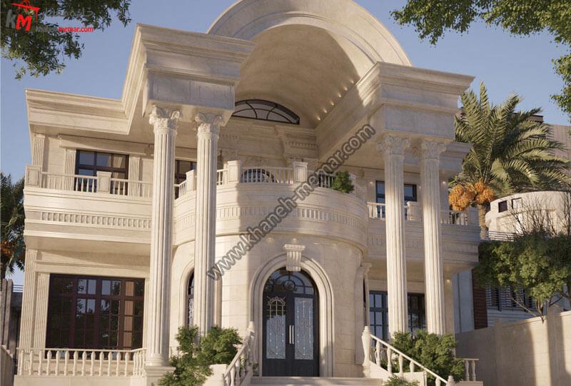 طراحی نمای فوق العاده زیبا به سبک نئوکلاسیک و در دوطبقه به صورت دوبلکس طراحی شده و با سنگ تراورتن و سنگ رومی میباشد