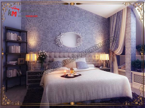 ترکیب رنگها اتاق خواب به همراه رو تختی و پرده انتخاب رنگ پرده