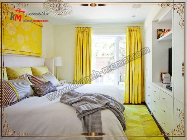 دکور زیبای اتاق خواب پرده پلیسه ای و ریلی