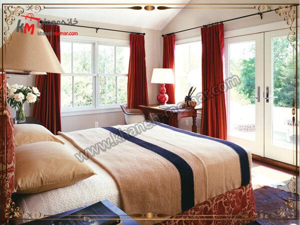 پرده قرمز رنگ زیبا برای اتاق خواب