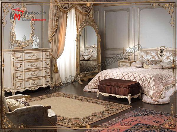 پرده های زیبای هماهنگ با دکوراسیون کلاسیک اتاق خواب تصویر چند مدل پرده
