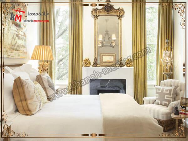 تصویر چند مدل پرده دکور های زیبای زرد رنگ اتاق خواب