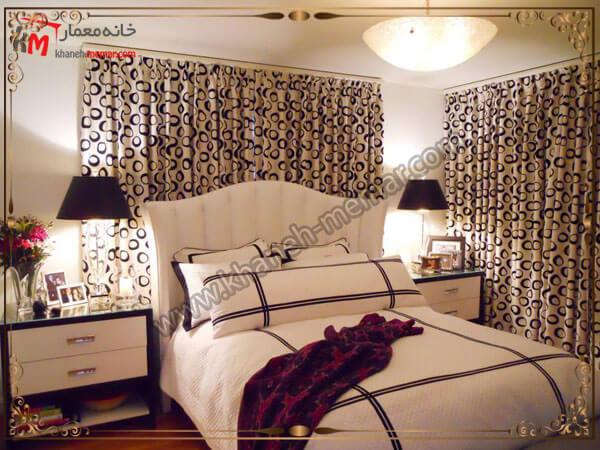 پرده زیبای اتاق خواب به رنگ کرمی قهوه ای پرده کرکر ه ای