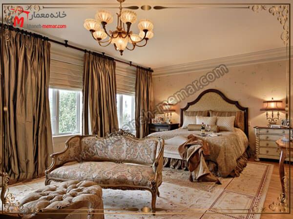 پرده اتاق خواب دکور داخلی زیبای اتاق خواب