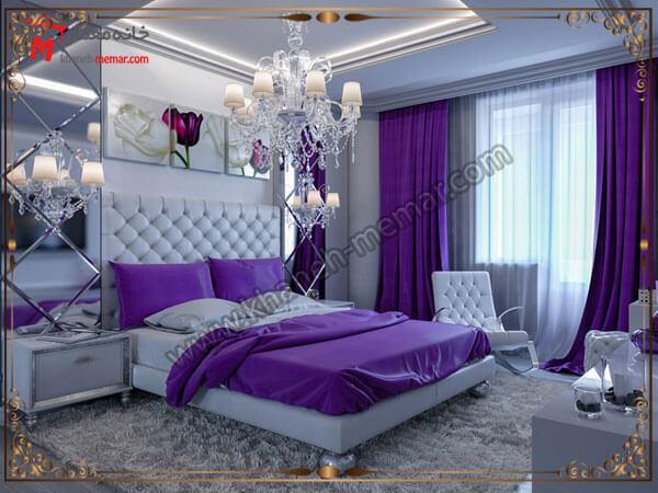 ترکیب رنگی زیبا اتاق خواب و پرده انتخاب رنگ پرده