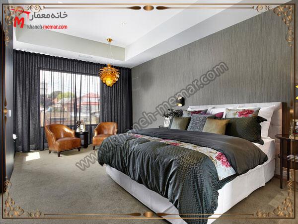 رنگهای شبیه به هم برای پرده و رو تختی اتاق خواب انتخاب رنگ پرده