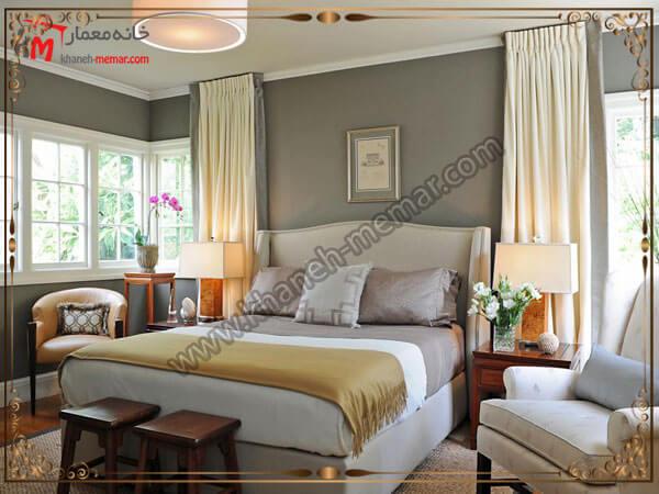 انواع دکور داخلی اتاق خواب تصویر چند مدل پرده